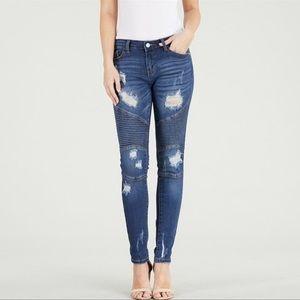 Judy Blue Distressed Moto Skinny Jeans Blue Sz 30